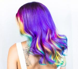Beautiful long hair dyed in rainbow colors