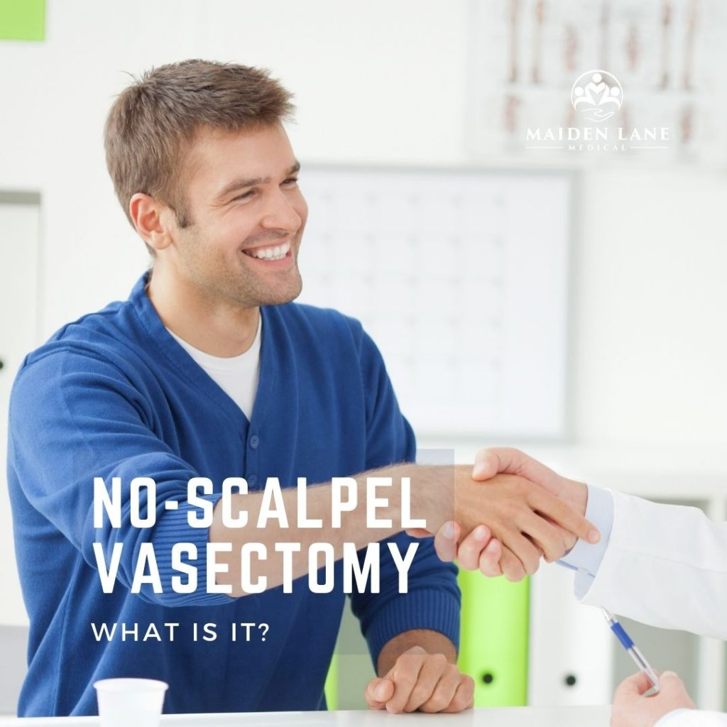 Man shaking hand with doctor that will perform a no-scalpel vasectomy procedure - Maiden Lane Medical, NYC